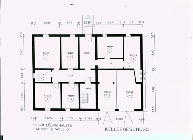 jojothumb 34 plan kellergeschoss mit keller nr 2 und garage nr 1. Black Bedroom Furniture Sets. Home Design Ideas